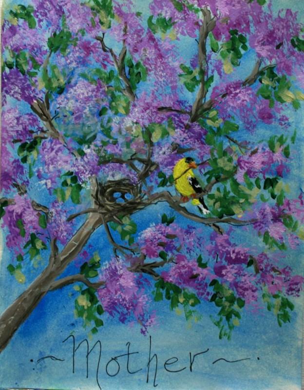 """""""Momma Bird"""" original fine art by Jean Nelson"""