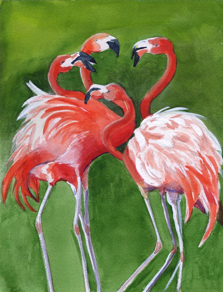 """Flamingos"" original fine art by Bunny Griffeth"