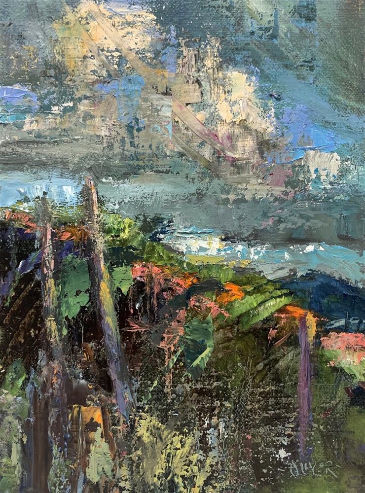 """""""Abstracted Landscape plus Monet Inspiration"""" original fine art by Julie Ford Oliver"""