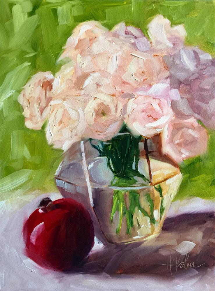 """Roses & Pomegranate"" original fine art by Hallie Kohn"