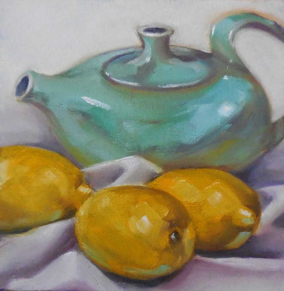 """Claudia's Teapot"" original fine art by Beth Moreau"