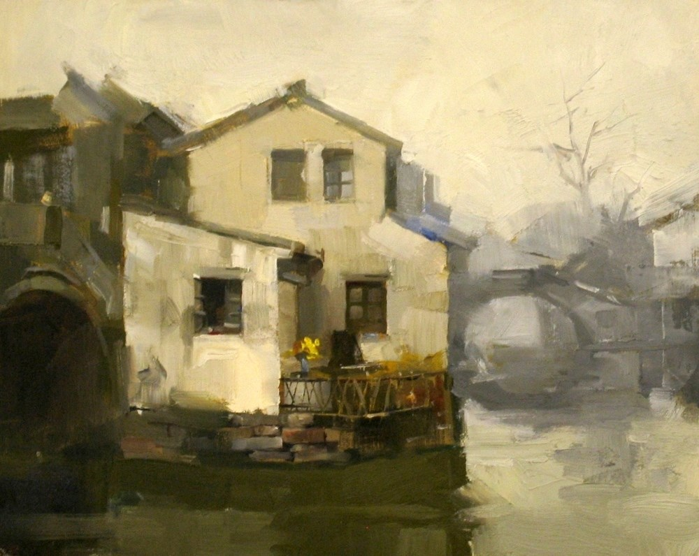 """""""Living by the Water"""" original fine art by Qiang Huang"""