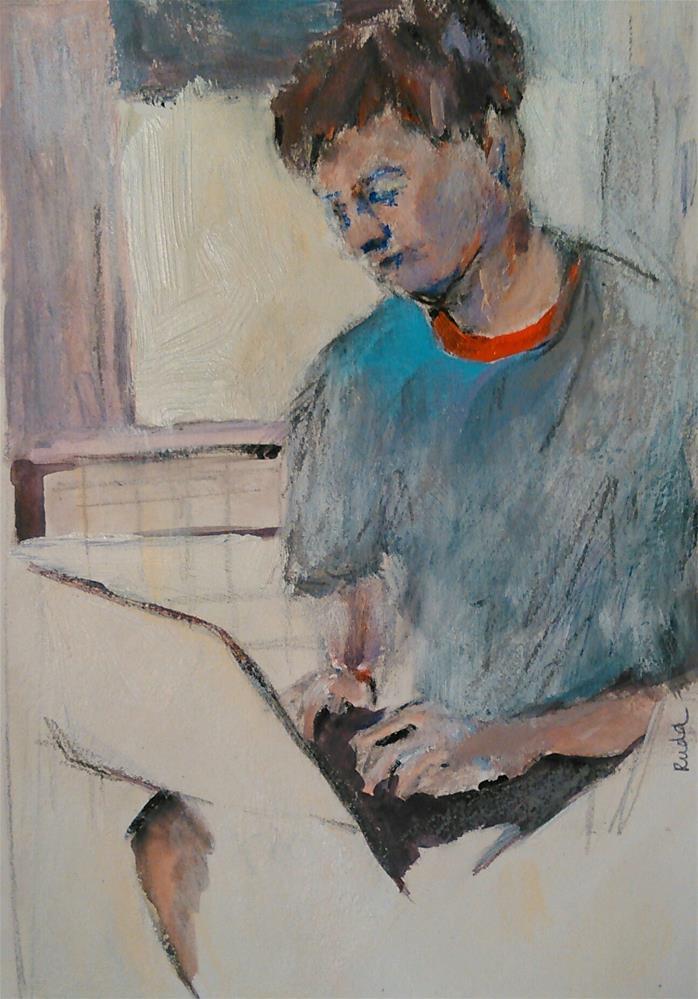 """Checking"" original fine art by Ann Rudd"