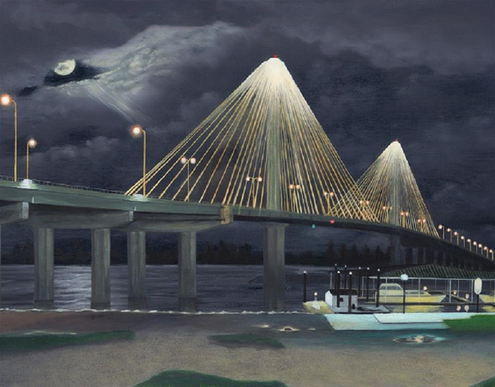 """Clark Bridge at Alton, Illinois"" original fine art by John Marcum"
