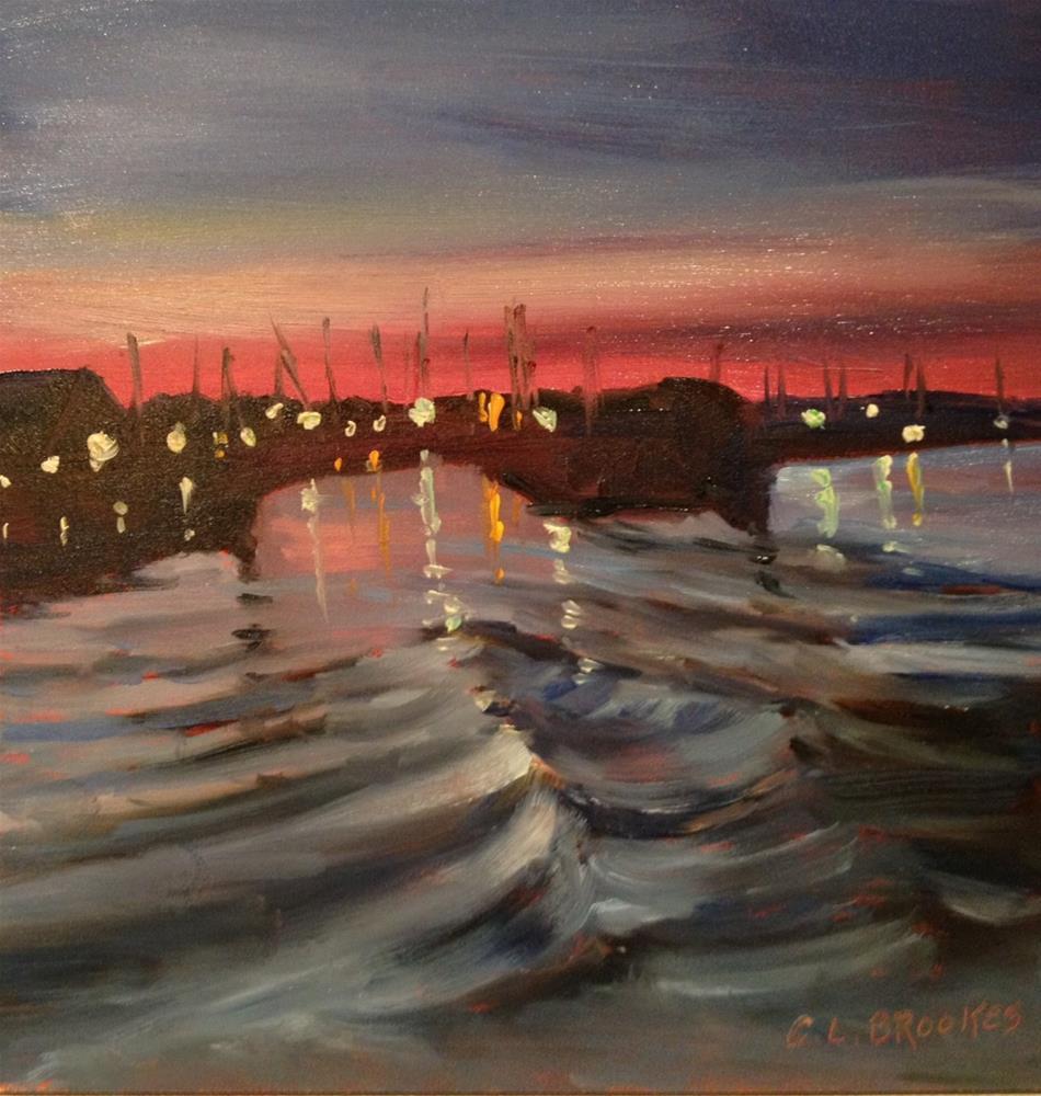 """River Night"" original fine art by Claudia L Brookes"