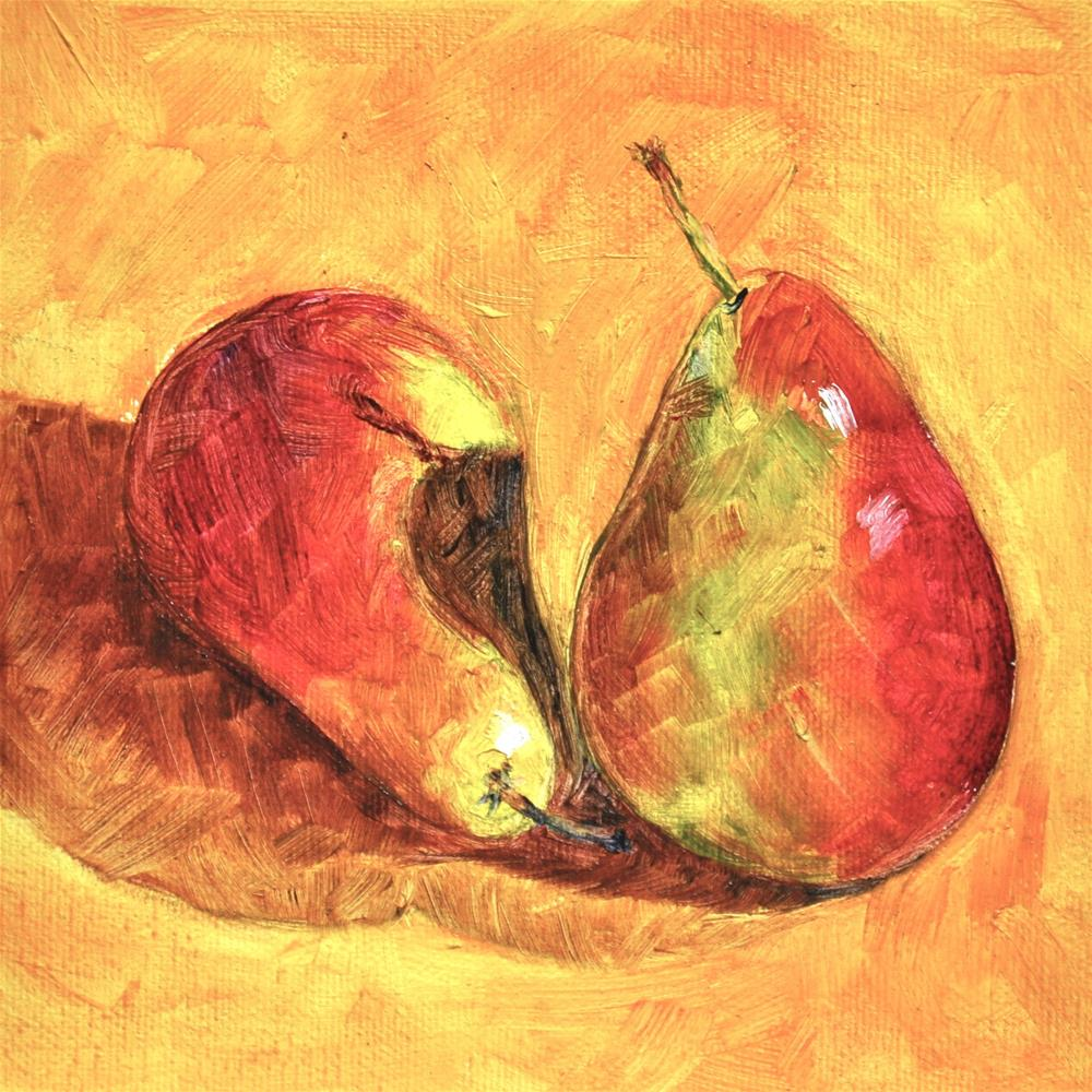 """""""Two Pears in a Pod"""" original fine art by Theresa Gonzales"""