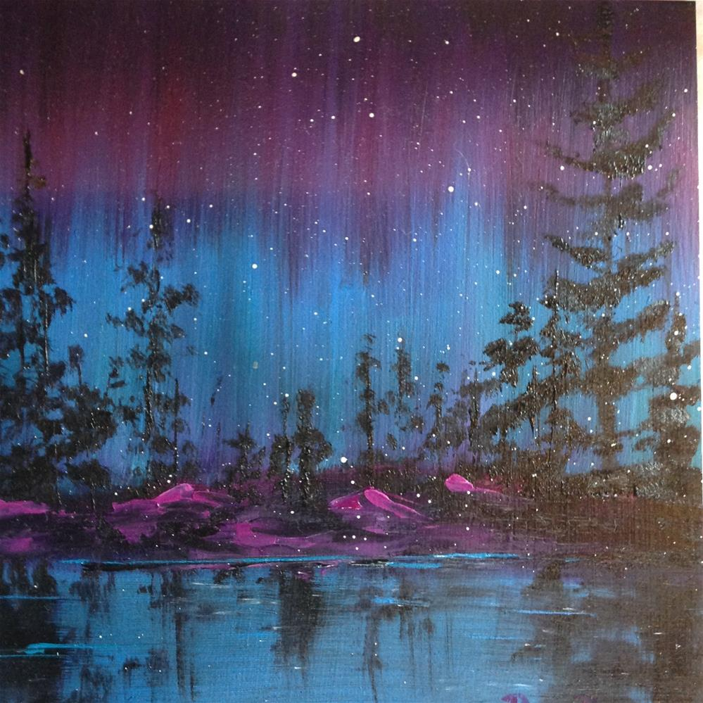 """Northern Lights at Night"" original fine art by Rose Brenner"