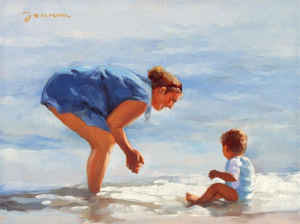 """""""Blissful Moment--Series Painting of Mother and Child at Beach"""" original fine art by Joanna Bingham"""