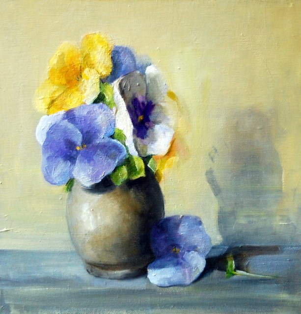 """""""Bunch of Pansies"""" original fine art by Christina Dowdy"""