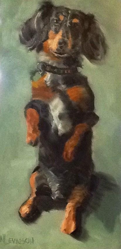 """""""Begging Weiner Dog"""" original fine art by Nancy Levinson"""