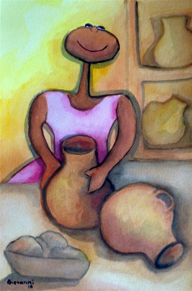 """Woman working on pottery"" original fine art by Giovanni Antunez"