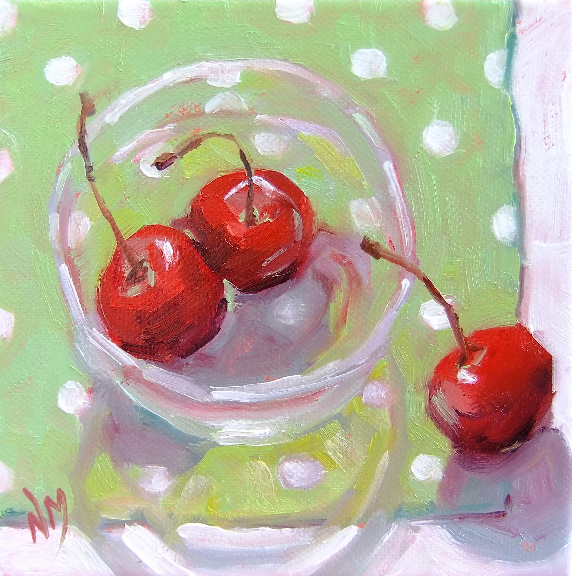 """Polka Dot Cherries"" original fine art by Nora MacPhail"