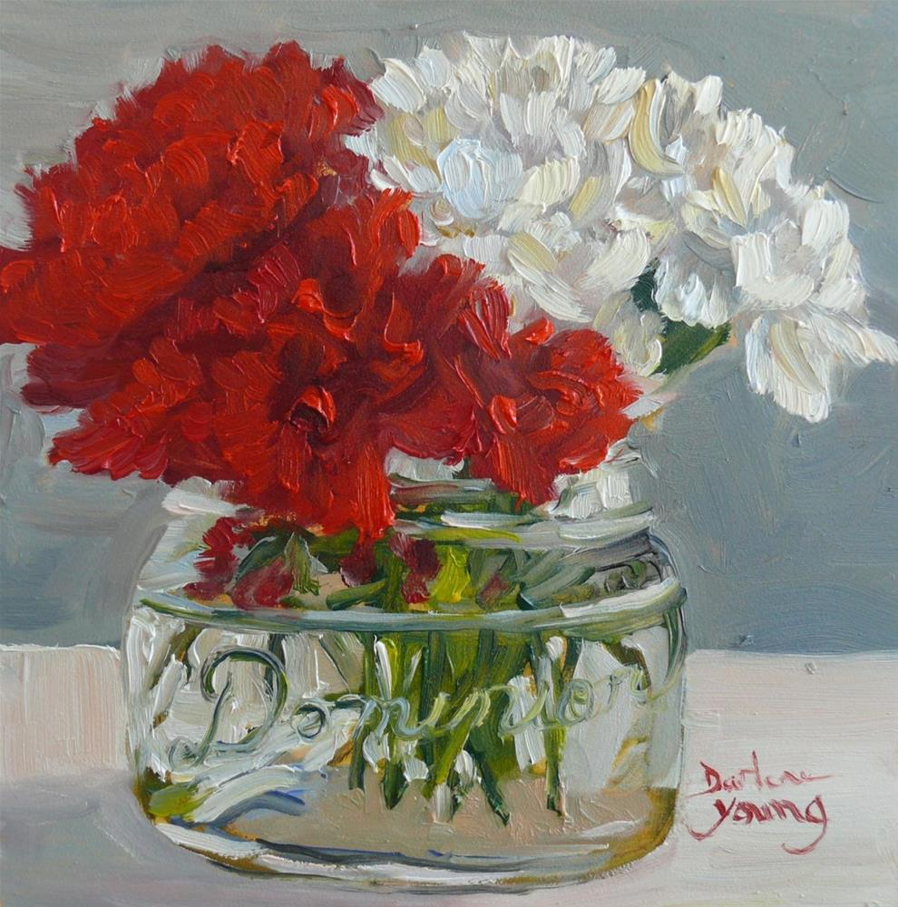 """848 Red and White Carnations, 6x6, oil on board"" original fine art by Darlene Young"