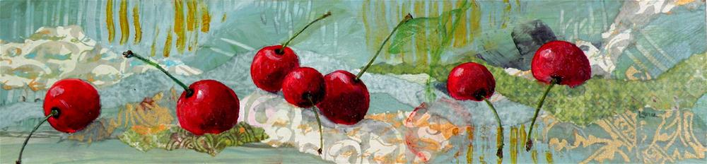 """Cherries 7"" original fine art by Saundra Lane Galloway"