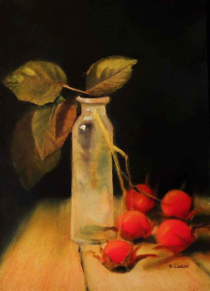 """Firethorn and Tincture Vial"" original fine art by Sharon Egan"