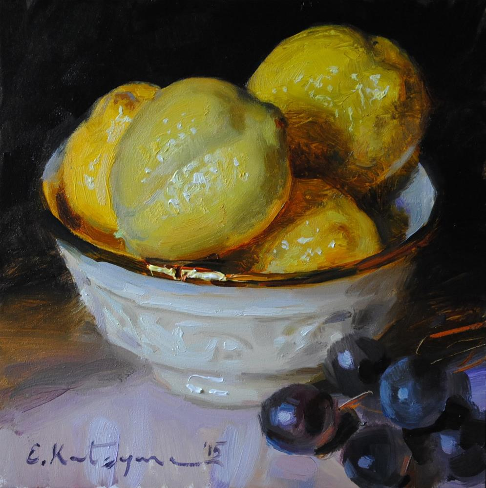 """Bowl of Lemons"" original fine art by Elena Katsyura"