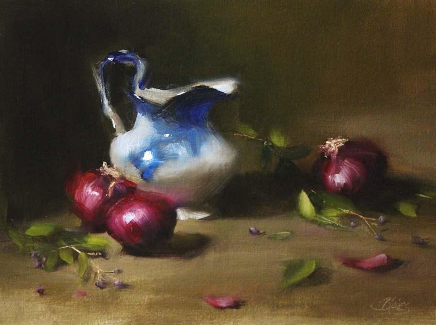 """Flow Blue and Red Onions"" original fine art by Pamela Blaies"