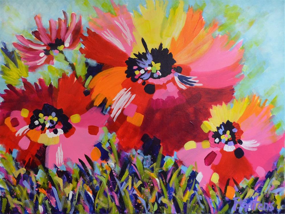 """Big Red Poppies"" original fine art by Pamela Gatens"