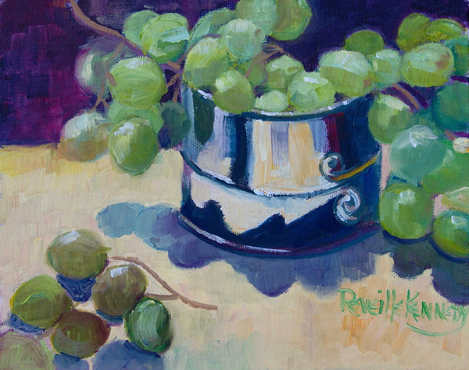 """""""Green Grapes in Silver Wine Canister"""" original fine art by Reveille Kennedy"""