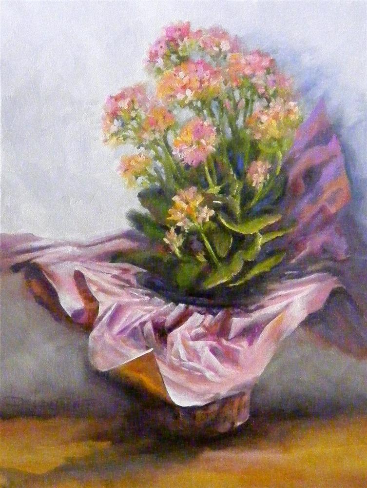 """Pink Flowers in Pink Paper"" original fine art by Diana Delander"