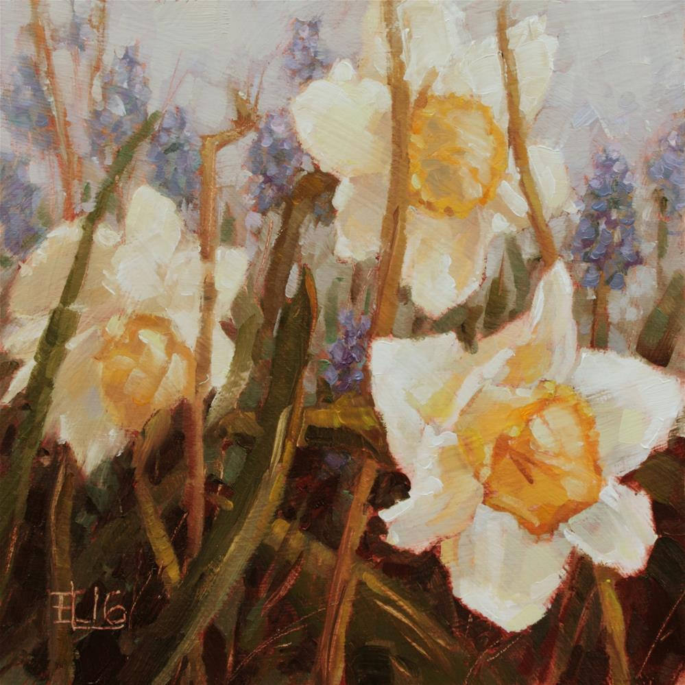 """Daffodils And Grape Hyacinths"" original fine art by Emilia Leinonen"