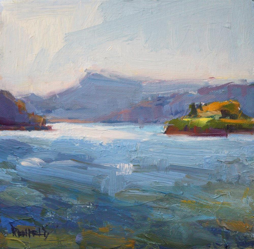 """Morning Sun on the Columbia River"" original fine art by Cathleen Rehfeld"