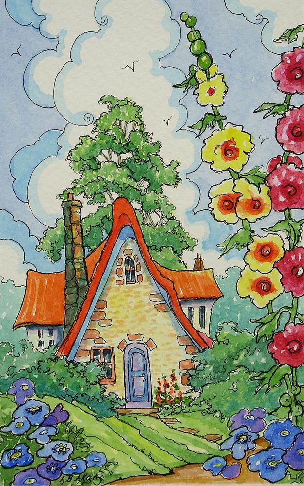 """Home Sweet Home Storybook Cottage Series"" original fine art by Alida Akers"