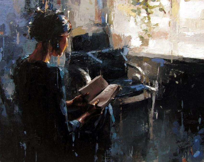"""Reading a Book"" original fine art by Victor Bauer"
