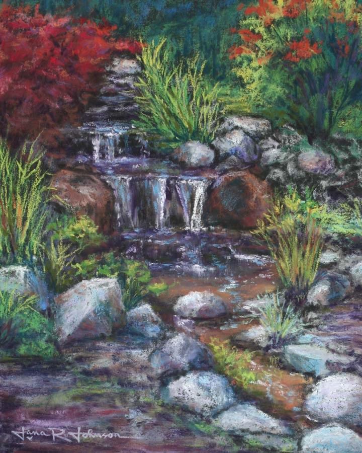 """Sparkling Waterfall"" original fine art by Jana Johnson"