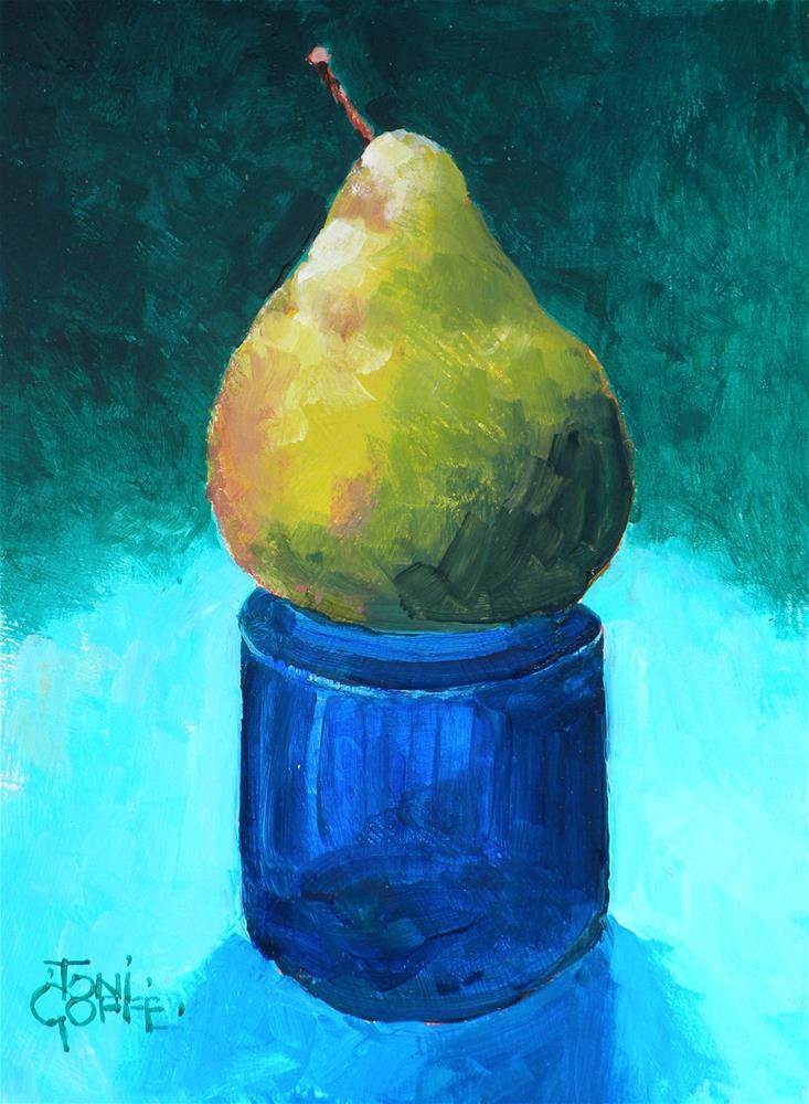 """Pear Pedestal"" original fine art by Toni Goffe"