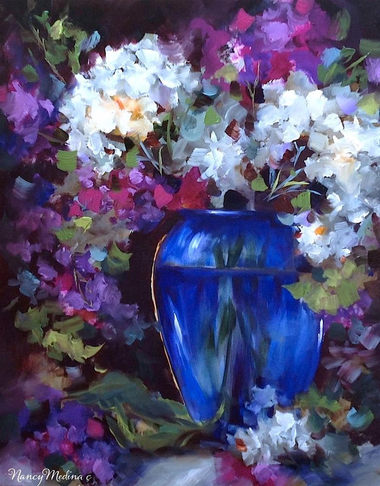 """One Day Left and Love's Embrace White Hydrangeas - Nancy Medina Art Videos and Classes"" original fine art by Nancy Medina"
