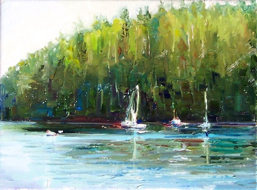 """""""San Juan Safe Harbor,sea scape,oil on canvas,9x12,price$400"""" original fine art by Joy Olney"""