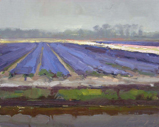 """Landscape spring #8 Grey days beauty - Purple fields and white line"" original fine art by Roos Schuring"