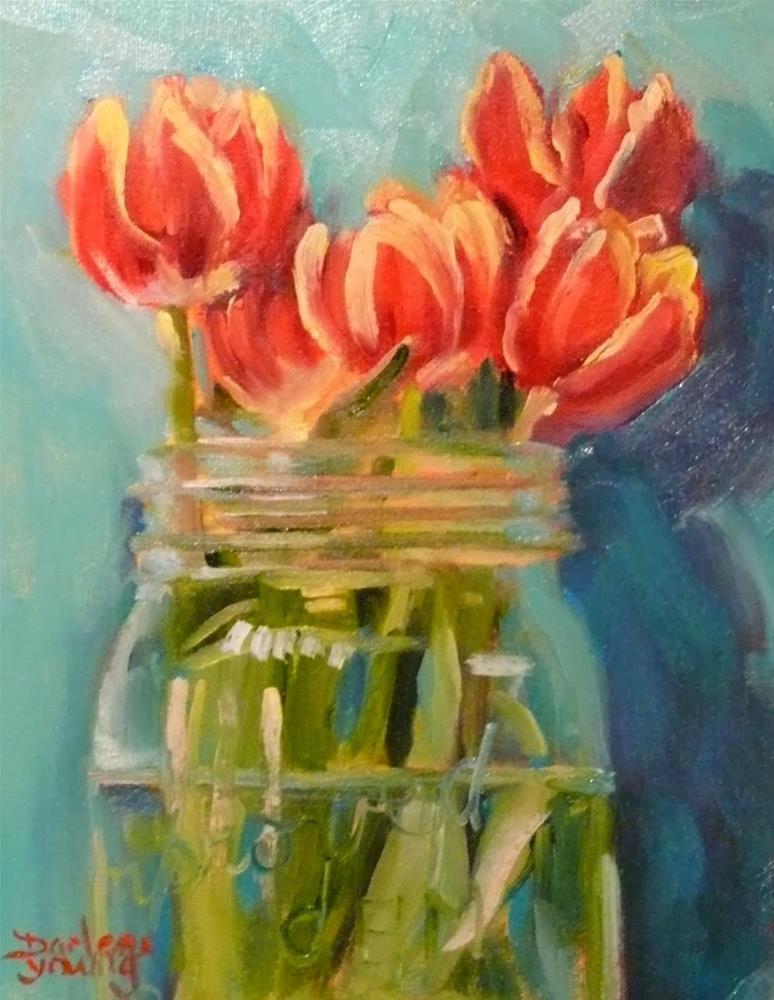 """702 Tulips in a Jar"" original fine art by Darlene Young"