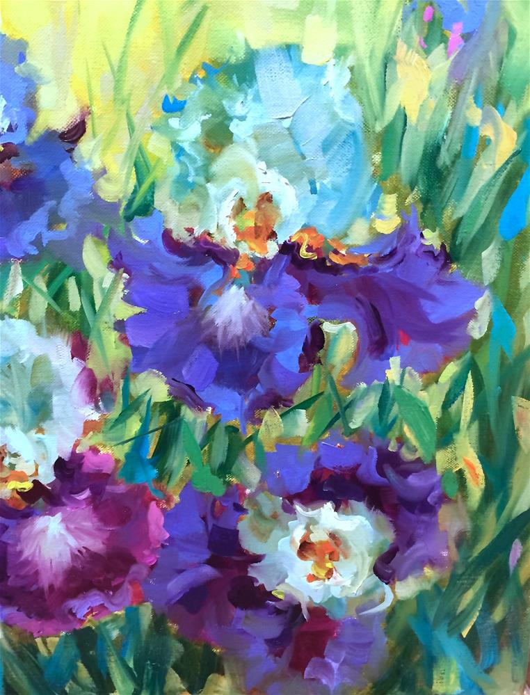 """Lavender Ladies Iris Garden"" original fine art by Nancy Medina"