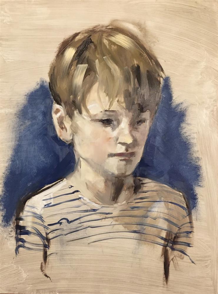 """""""Breton striped sweater"""" original fine art by Philine van der Vegte"""