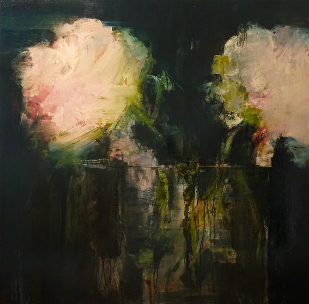 """Pink Floral no.2 oil on board 36x36"" original fine art by Deborah R Hill"