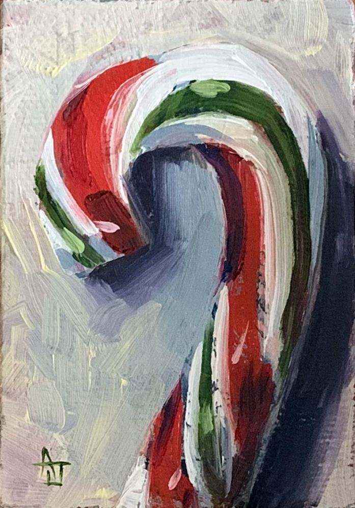 """Red & Green Candy Cane"" original fine art by Andrea Jeris"