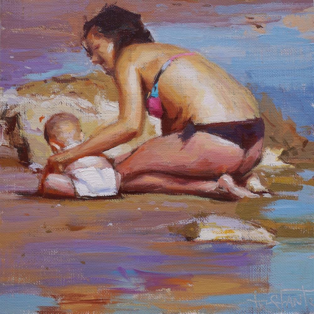 """Mother and son"" original fine art by Víctor Tristante"