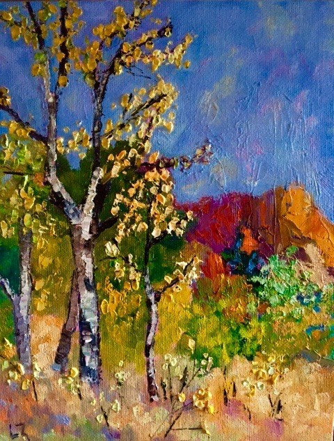 """Lumpy Ridge Aspens"" original fine art by Liz Zornes"