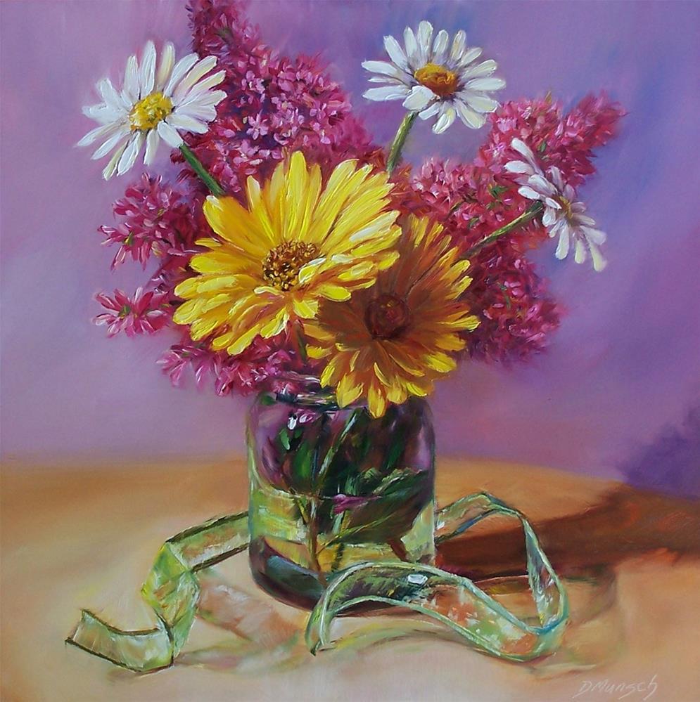 """Daisies and Lilacs"" original fine art by Donna Munsch"
