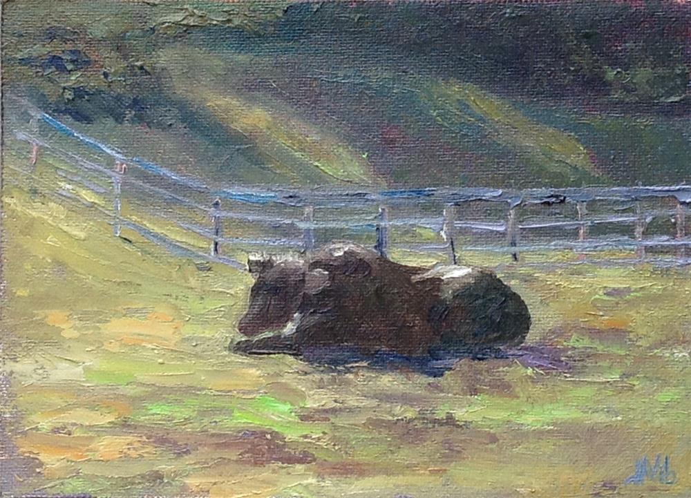 """Lonely Mooey on Ghent Mellenville Road"" original fine art by Helen Viebrock Hamel"