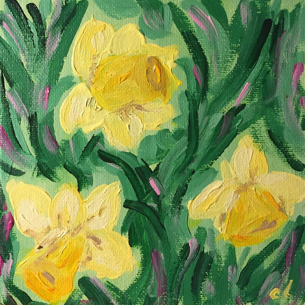 """""""Laughing WITH the daffodils"""" original fine art by Cheree Apalona Lueck"""