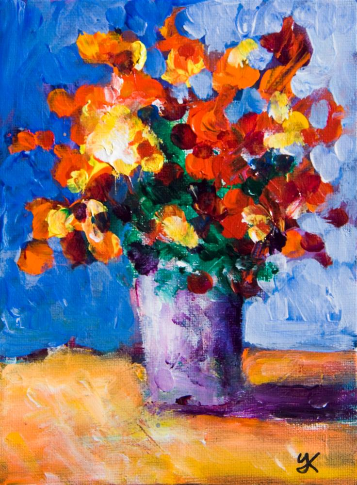 """Red Flowers"" original fine art by Yulia Kazansky"