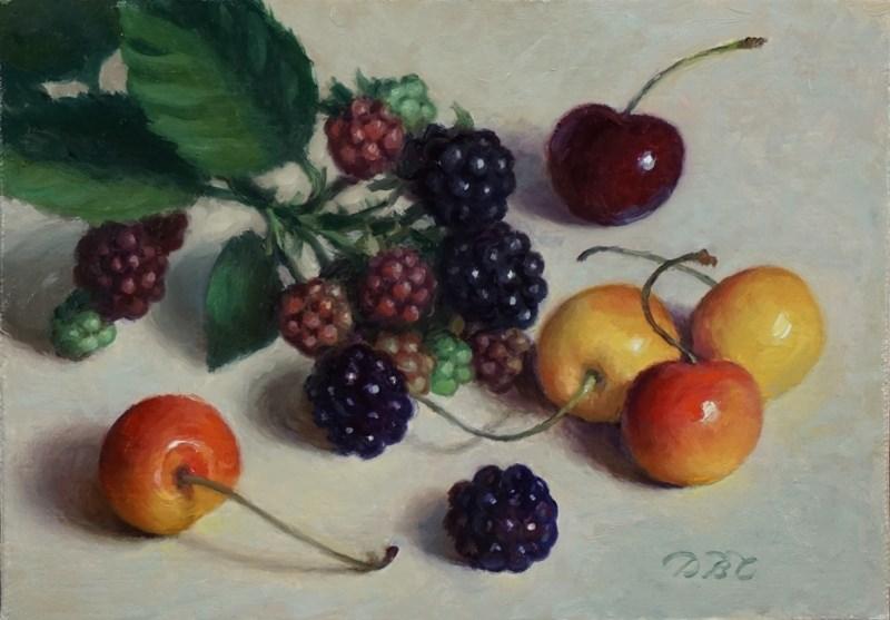 """Cherries and Berries"" original fine art by Debra Becks Cooper"