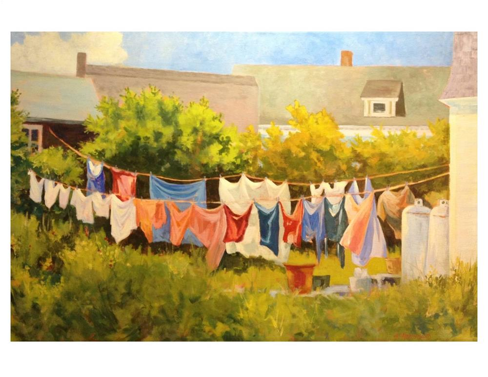 """Laundry Line on Monhegan"" original fine art by Suzanne Woodward"