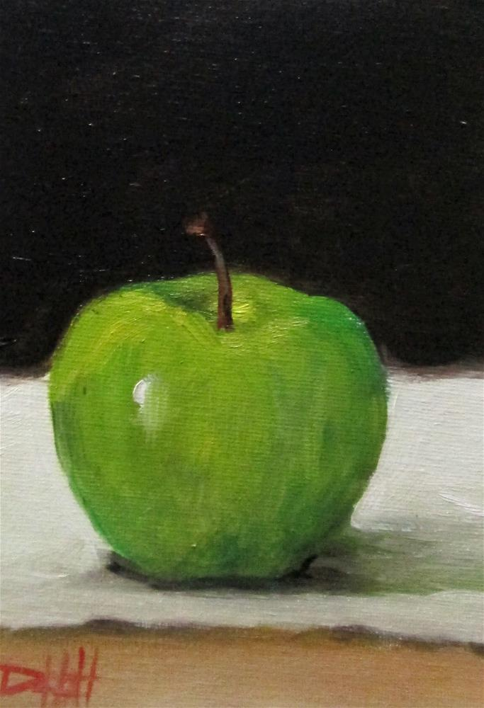 """""""Green Apple No. 14 in Apple Series"""" original fine art by Delilah Smith"""