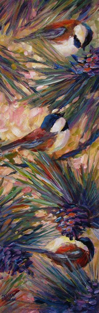 """Hungry Chickadees"" original fine art by Melissa Gannon"