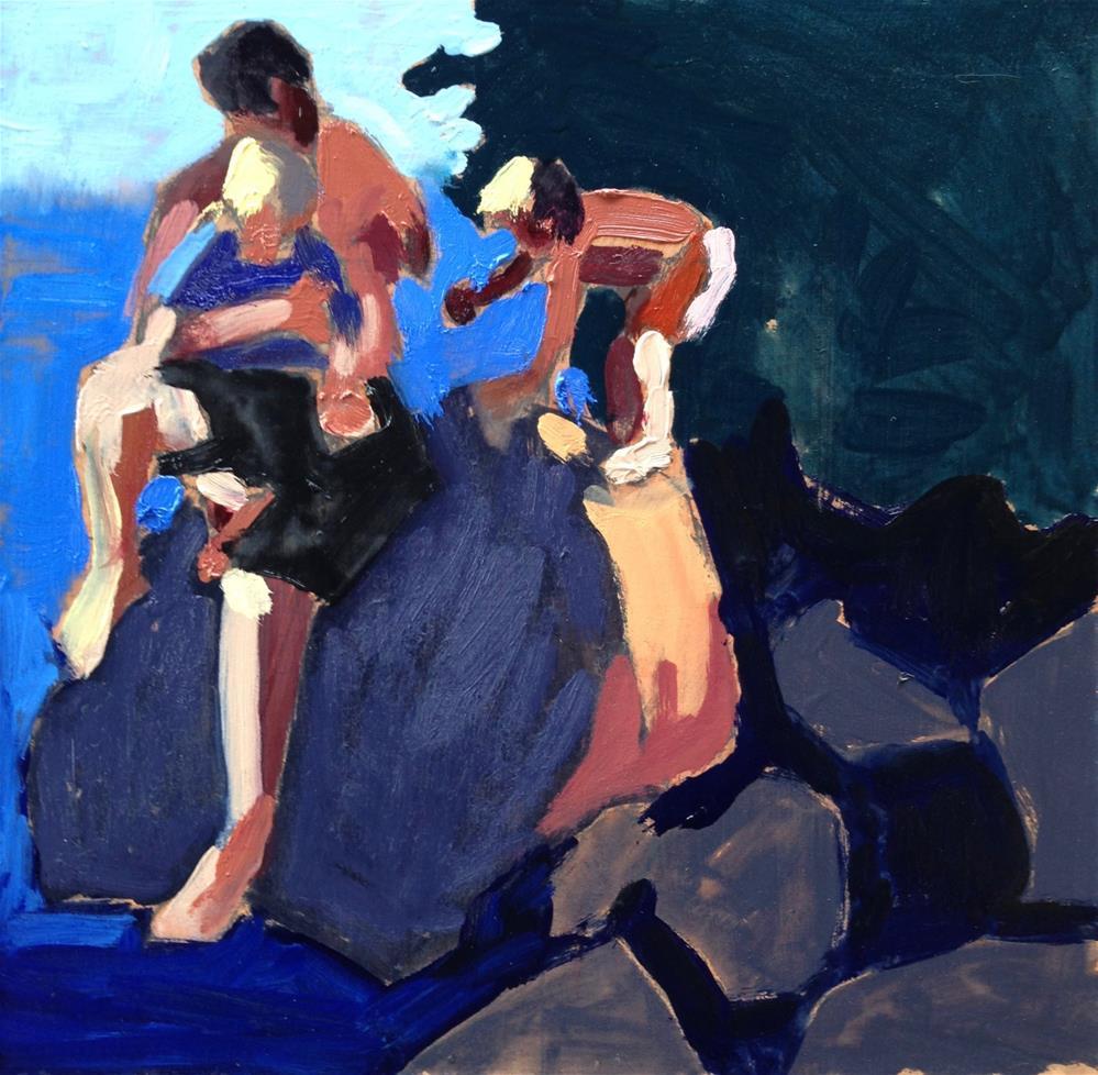 """Daddy On the Rocks"" original fine art by Pamela Hoffmeister"