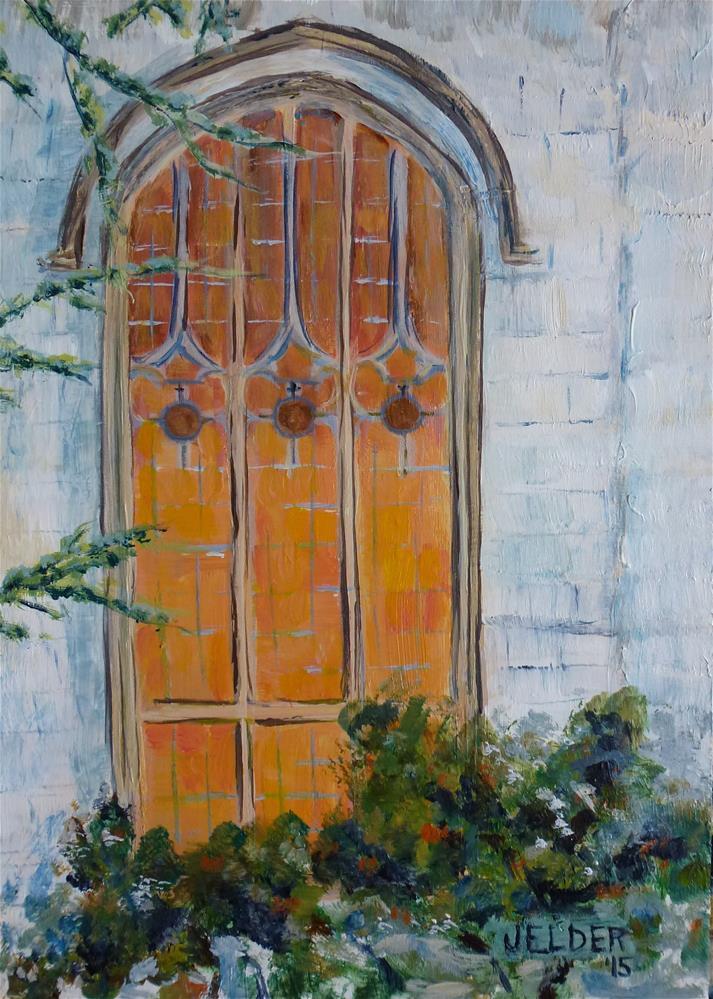 """Church Window"" original fine art by Judith Elder"